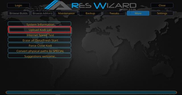 Ares wizard upload Kodi log