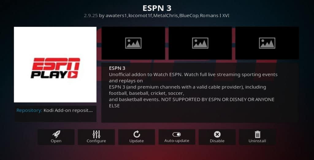 ESPN3 Kodi addon