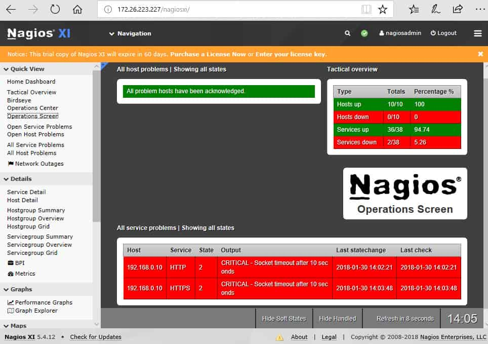 Nagios XI Op Center dashboard displays overall network status.