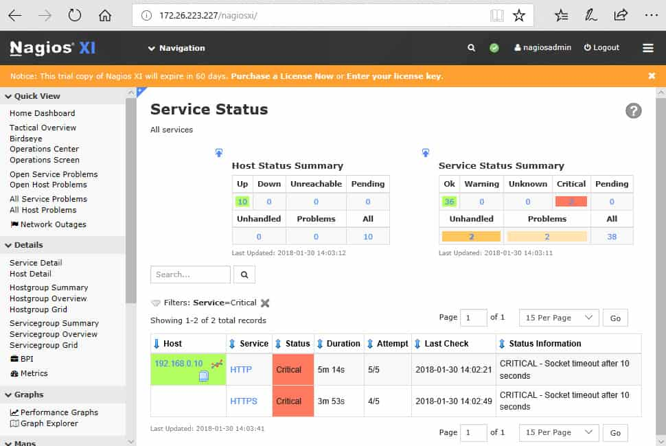 Nagios XI Service Status shows status of services running on servers, enables drill-down.