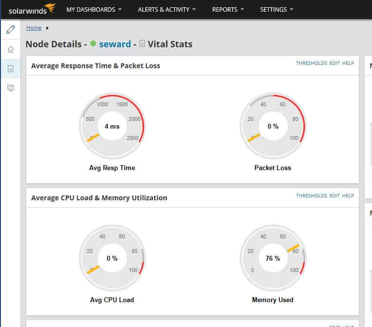 SolarWinds Server and Application Monitor graphically shows top-level status of a server.