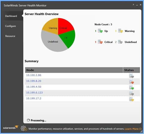 SolarWinds Server Health Monitor summarizes top-level status of monitored servers.