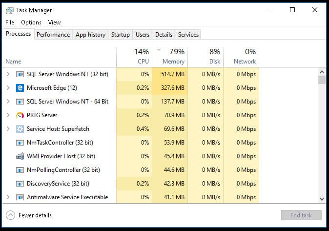 Windows Task Manager displays high level application utilization information.