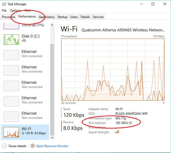 Discover your IP address in Task Manager