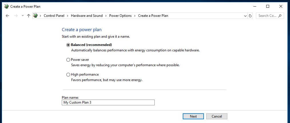 Power plan options.