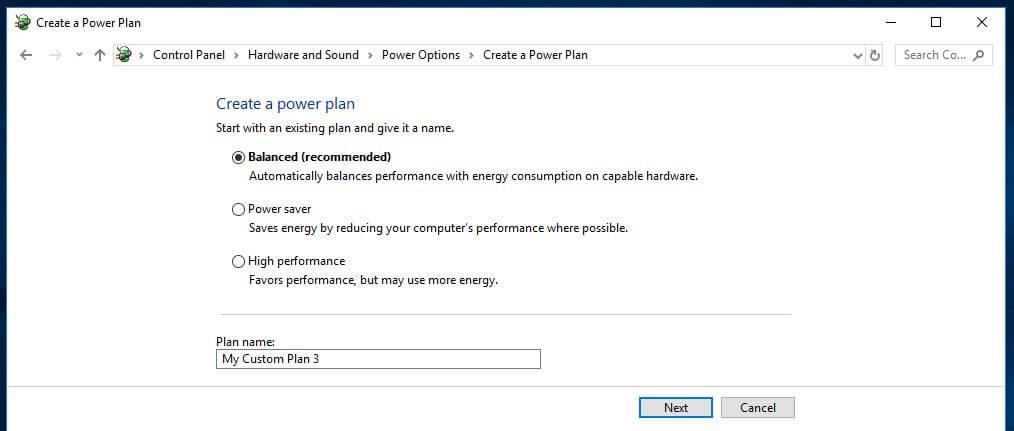 Power plan options.