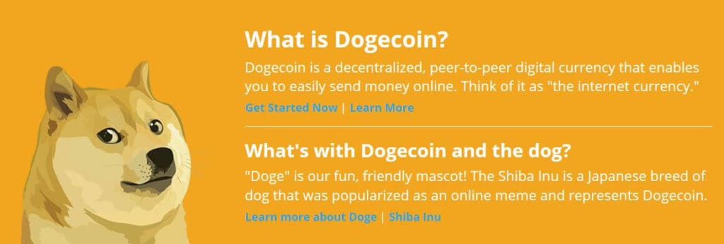 A section of the Dogecoin homepage.