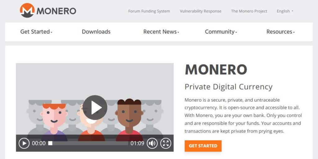 The monero homepage.