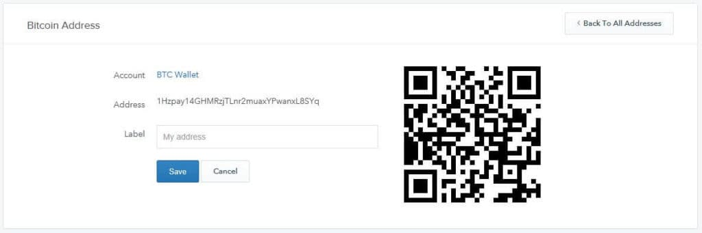 A bitcoin address with QR code.