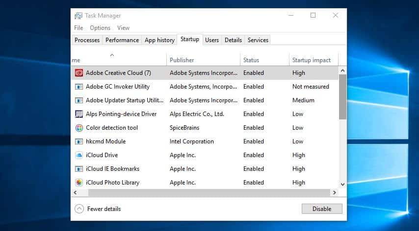 The Task Manager screen.