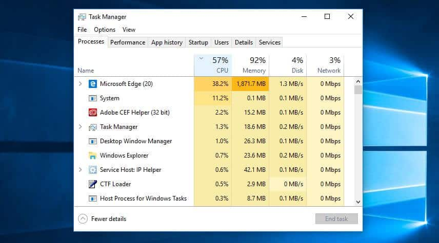 The Processes tab within the Task Manager screen.