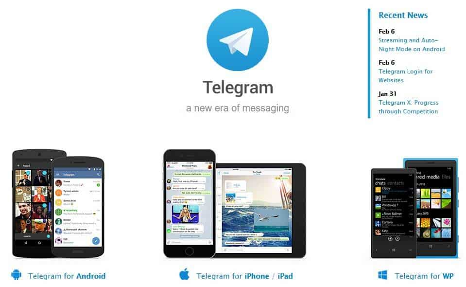 The Telegram homepage.