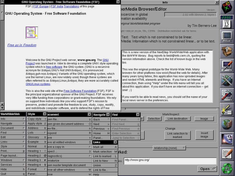 WorldWideWeb (the original NeXT-based web-browser) showing many of its functions / public domain / by Tim Berners-Lee for CERN / Created: 13 December 1994