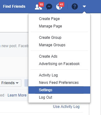Access privacy settings in Facebook