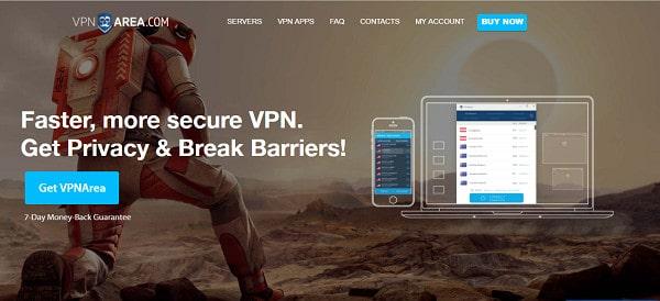 VPNArea Home page