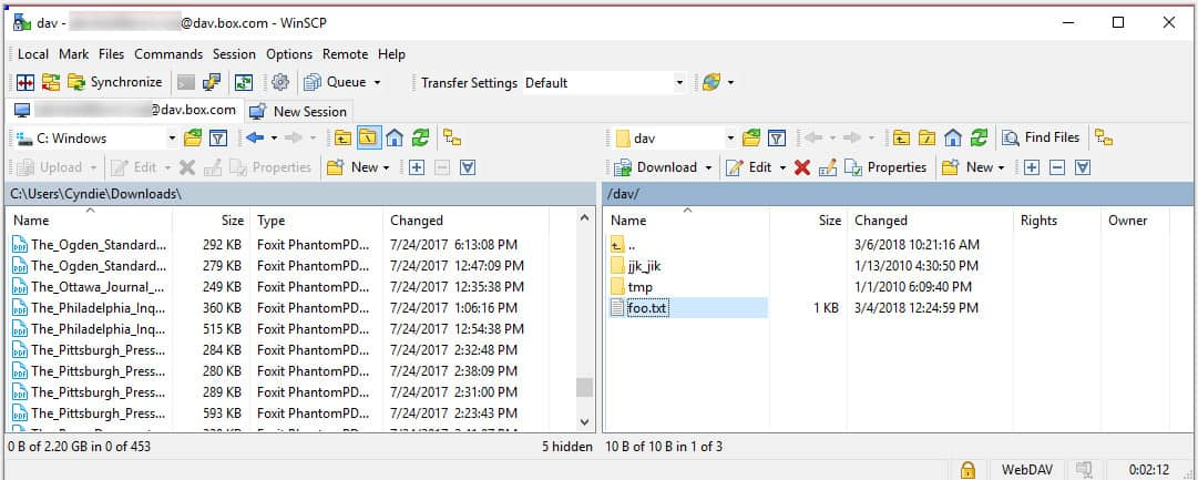 WinSCP permits accessing files on a WebDAV server