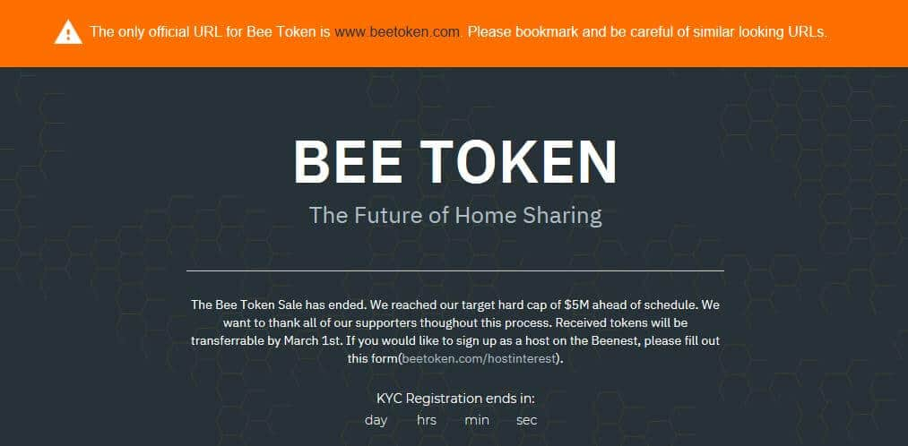 The Bee Token website.