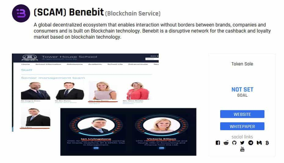 Images of Benebit from ICODrops.
