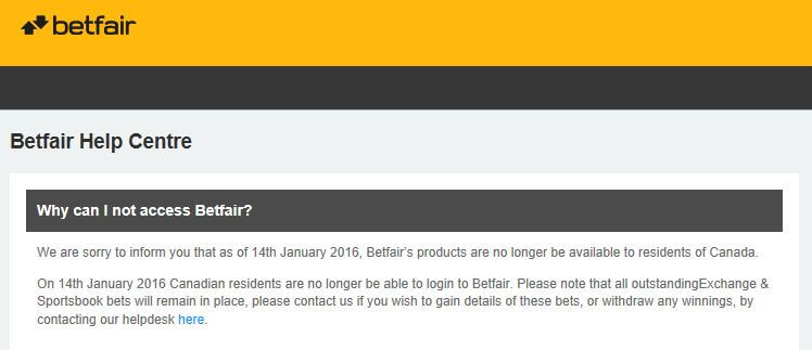 Betfair error.