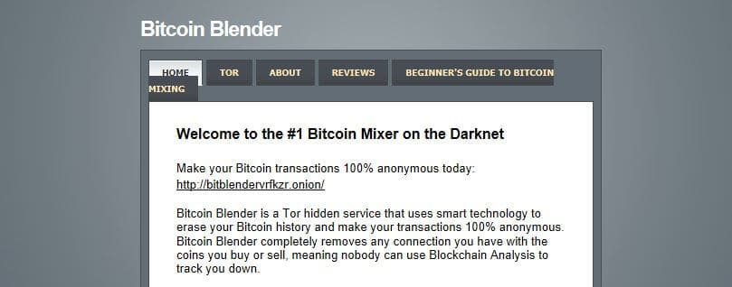 The Bitcoin Blender homepage.
