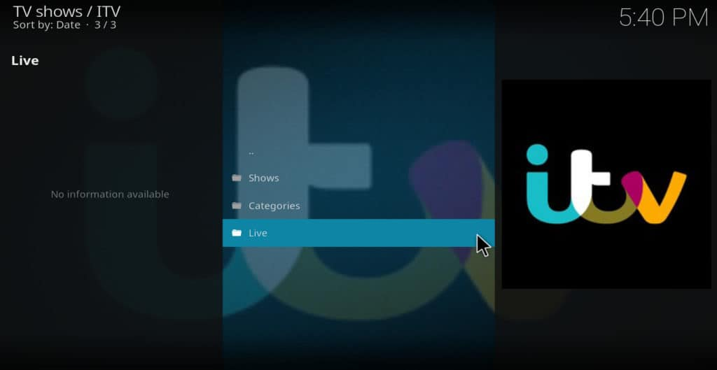 iTV main menu