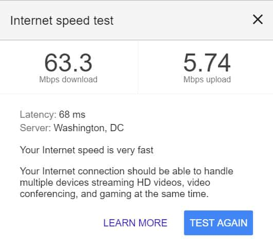 google internet speed