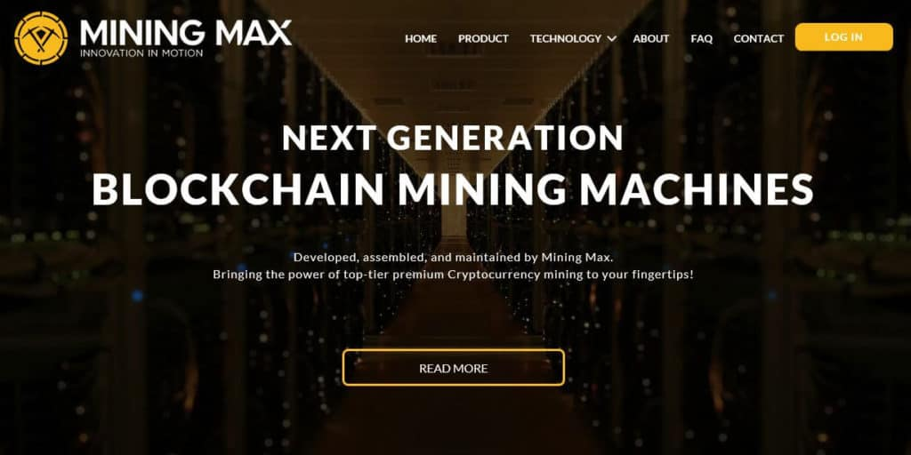The Mining Max homepage.