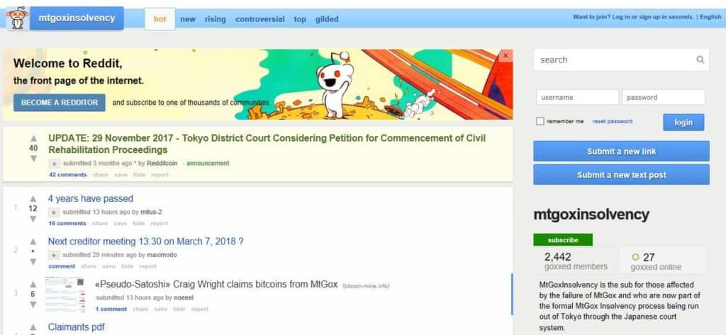 The MtGoxInsolvency subreddit.