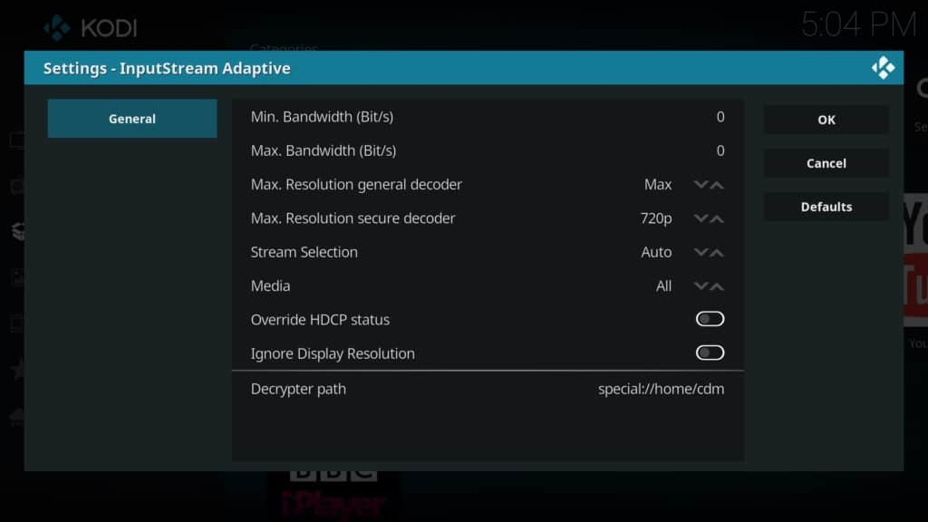 netflix addon inputstream settings