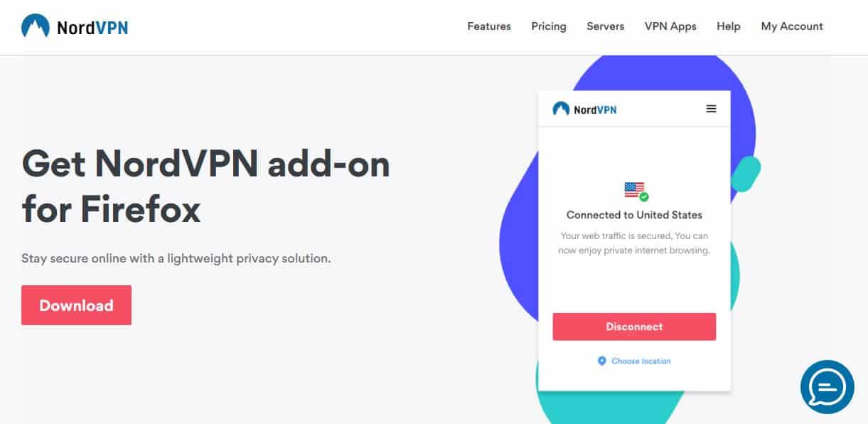 NordVPN Firefox add-on page.