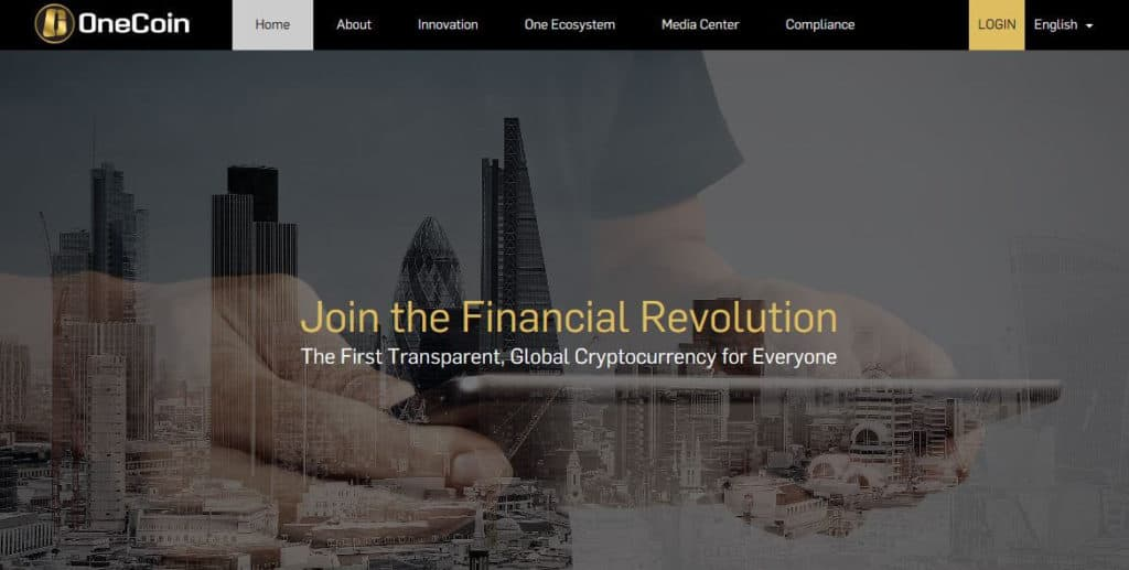 The OneCoin website.