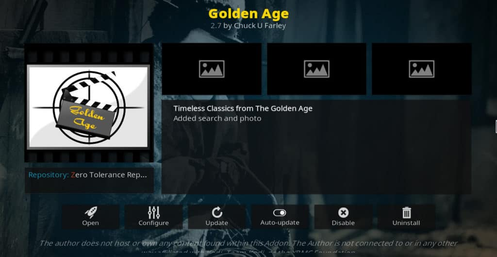 Golden Age Kodi addon