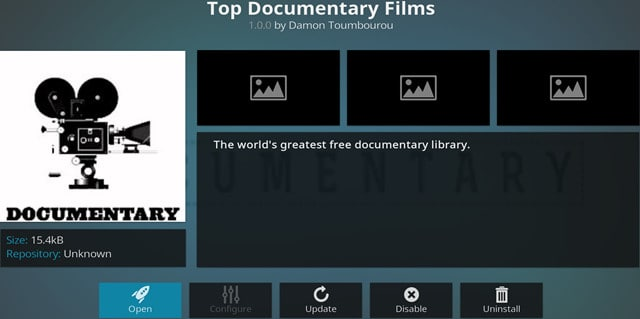 Kodi Top Documentary Films addon main