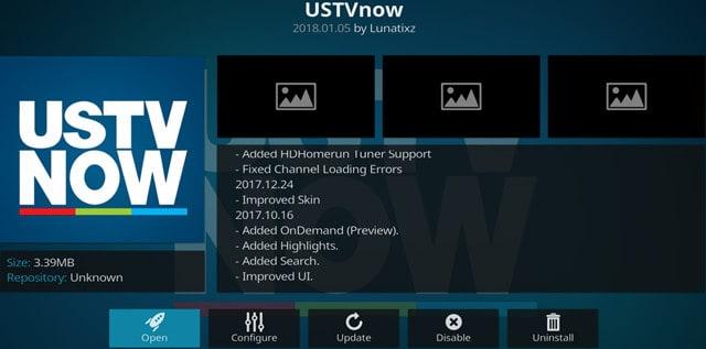 Kodi USTVNow Plus Addon Main