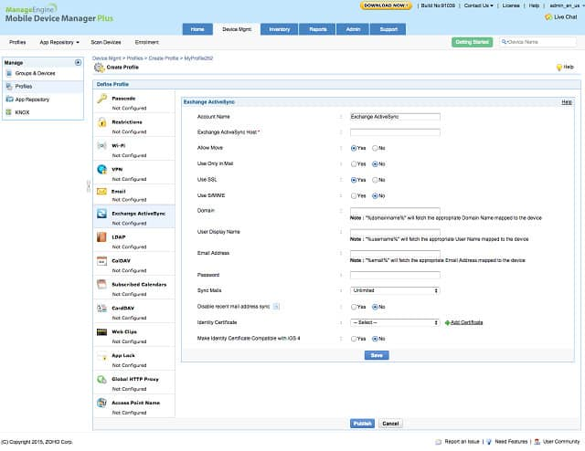 ManageEngine Mobile Device Manager Plus screenshot