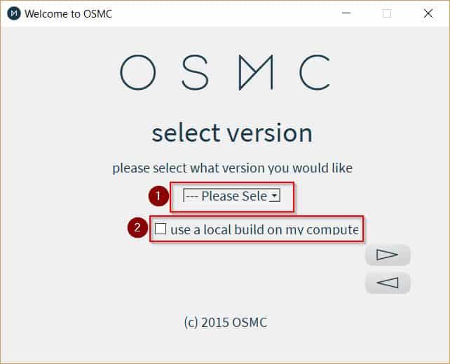 OSMC Installer Select Version
