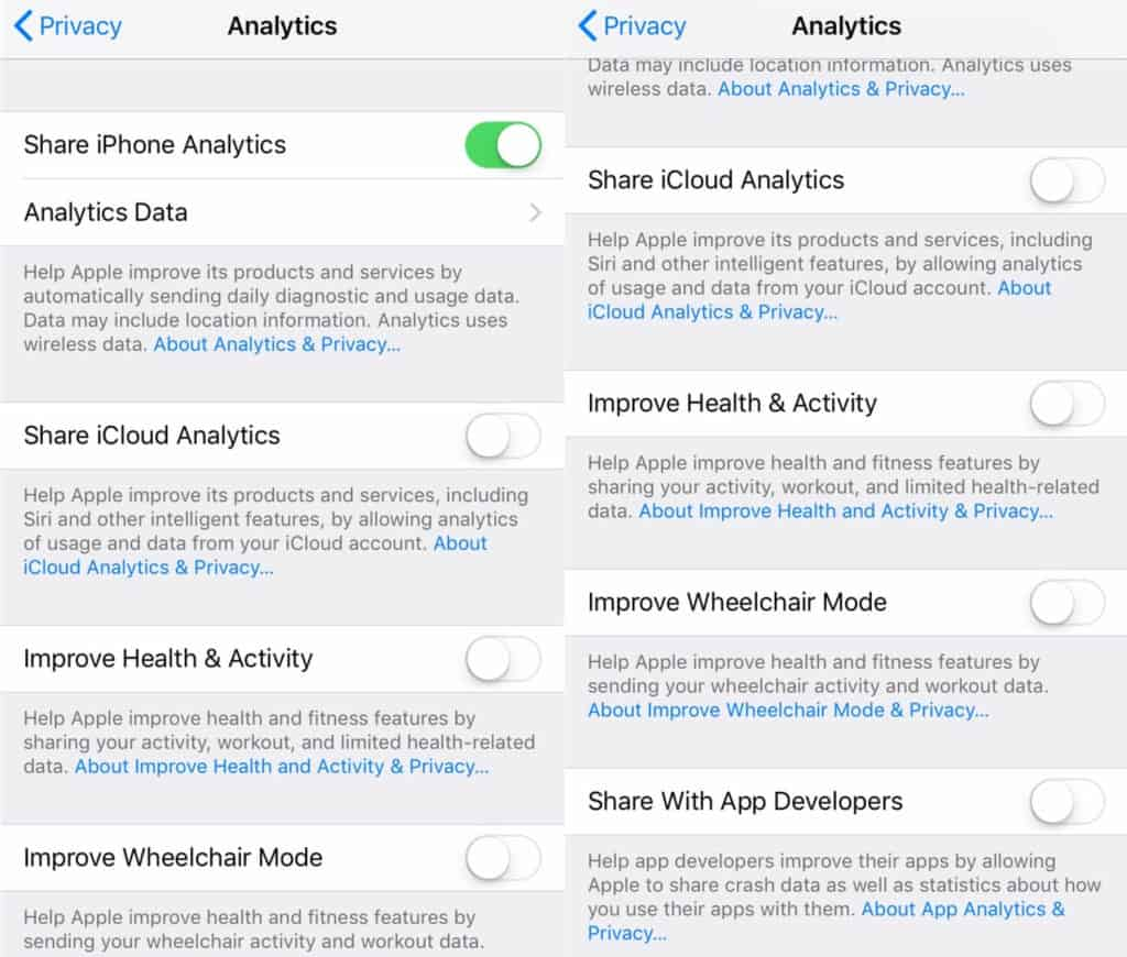 iPhone app Analytics settings.
