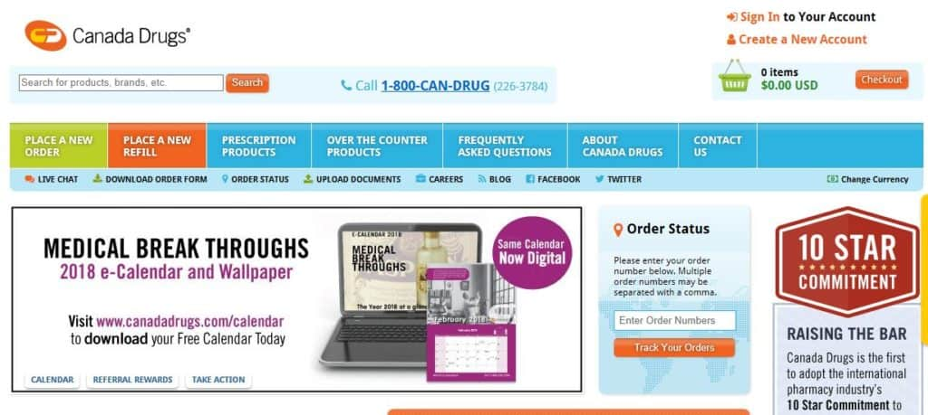 Canada Drugs homepage.