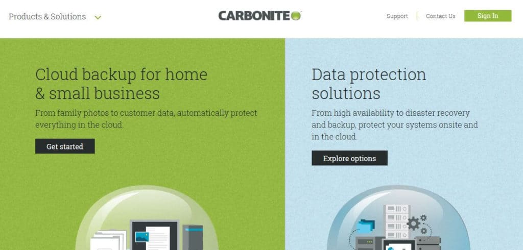 The Carbonite homepage.
