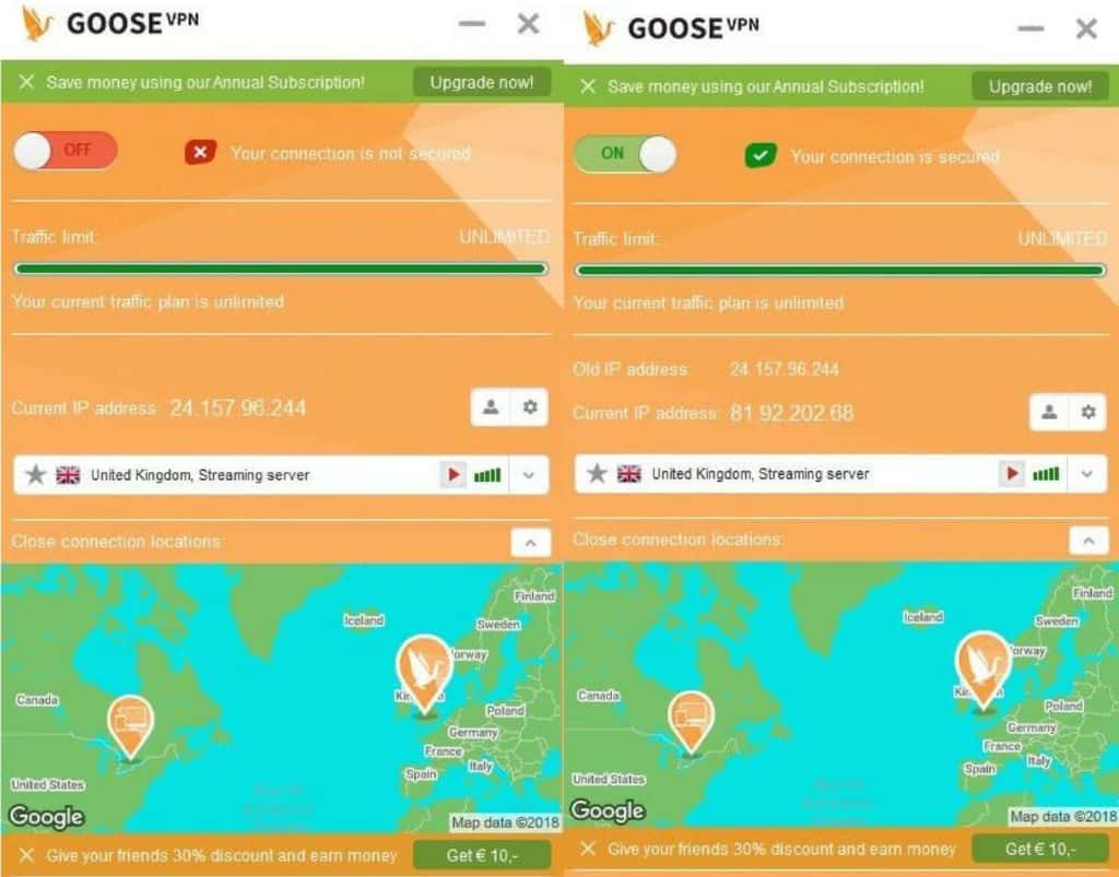 Goose VPN main screens.