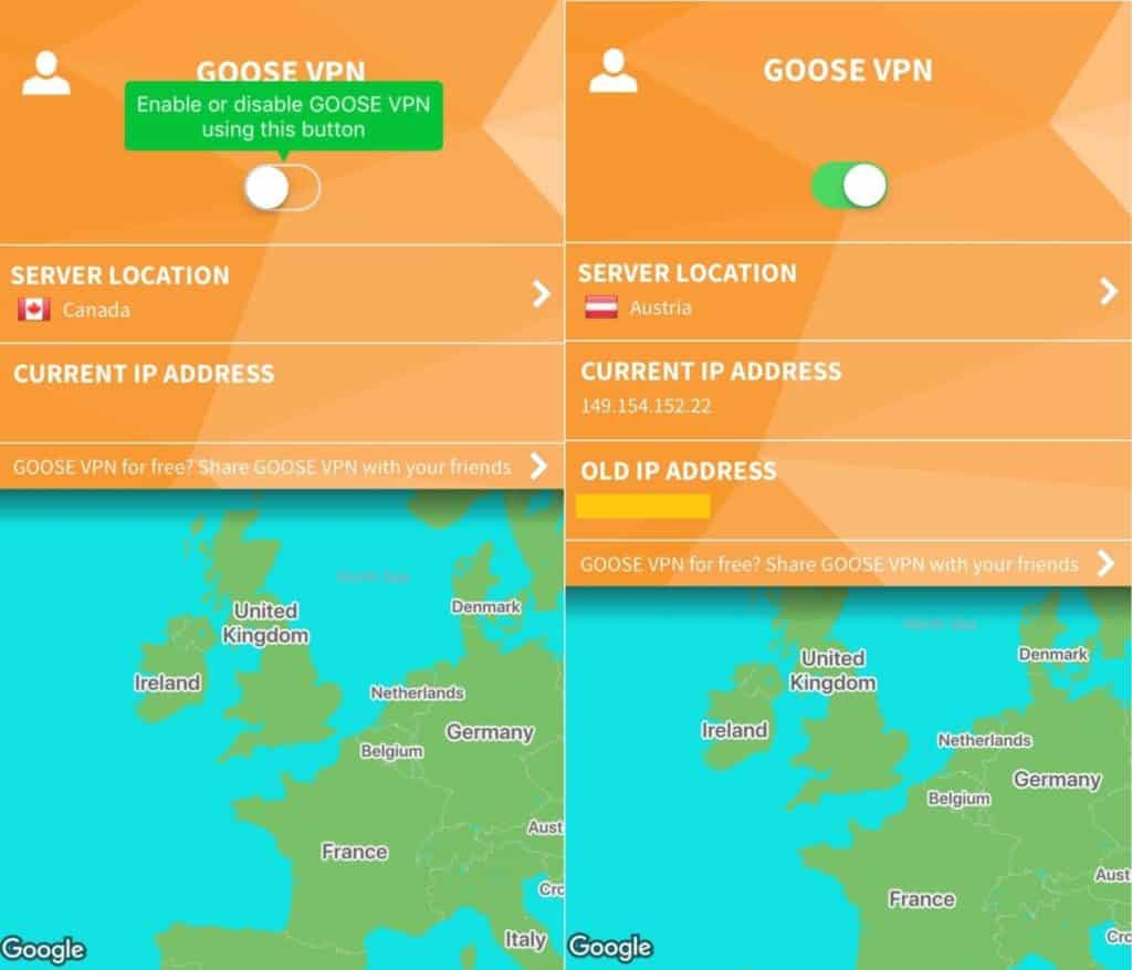 Goose VPN mobile app main screens.