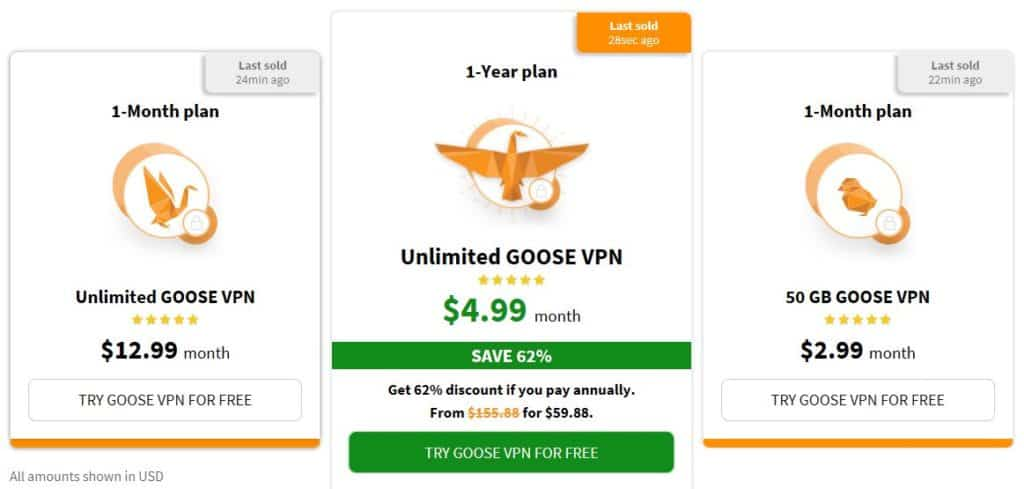 Goose VPN pricing table.