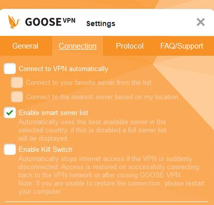Goose VPN Connection tab.