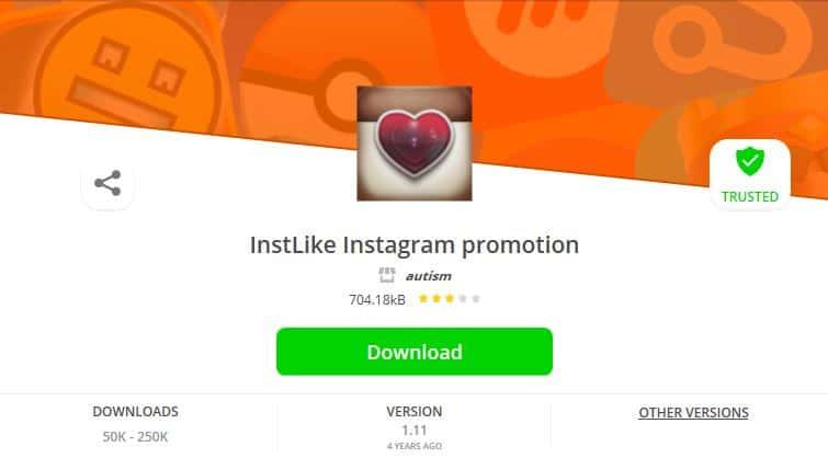 The InstLike app.