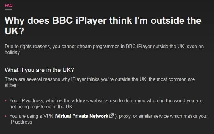 iplayer VPN warning
