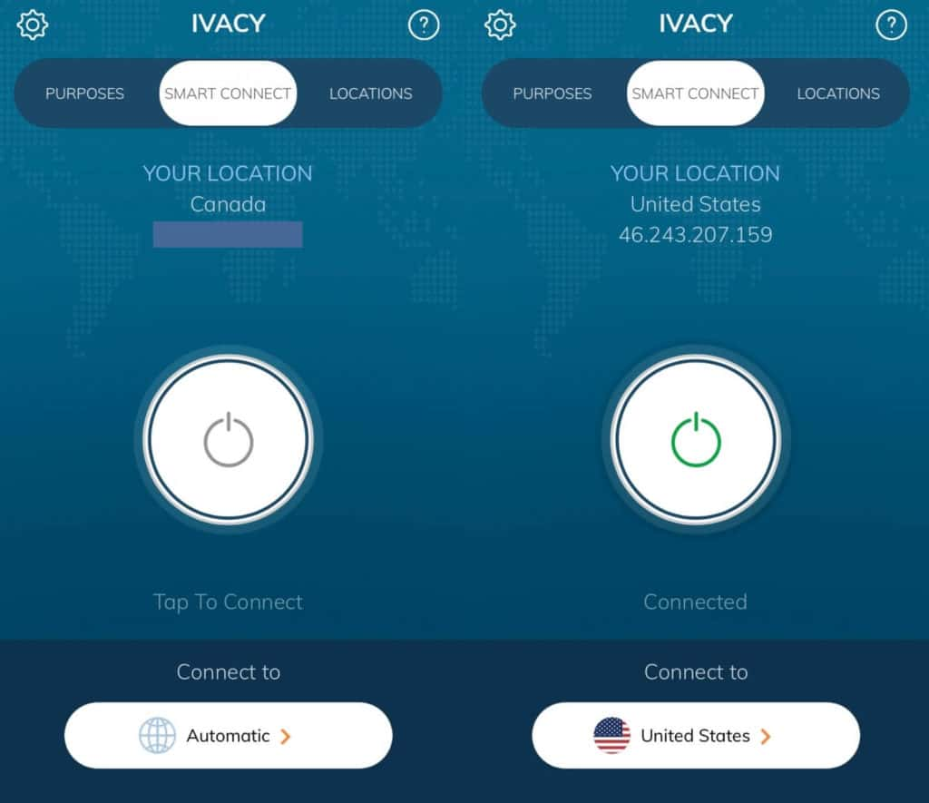 The Ivacy mobile app main screen.