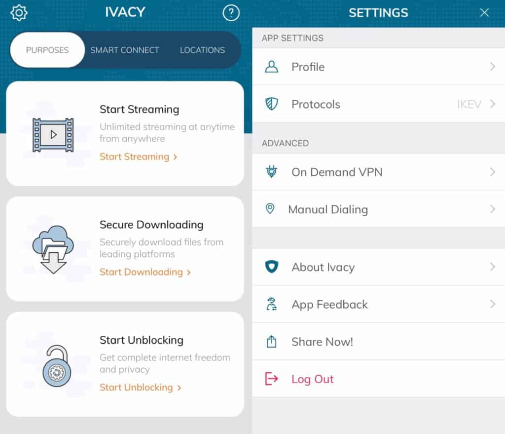 The Ivacy app Purposes and Settings screens