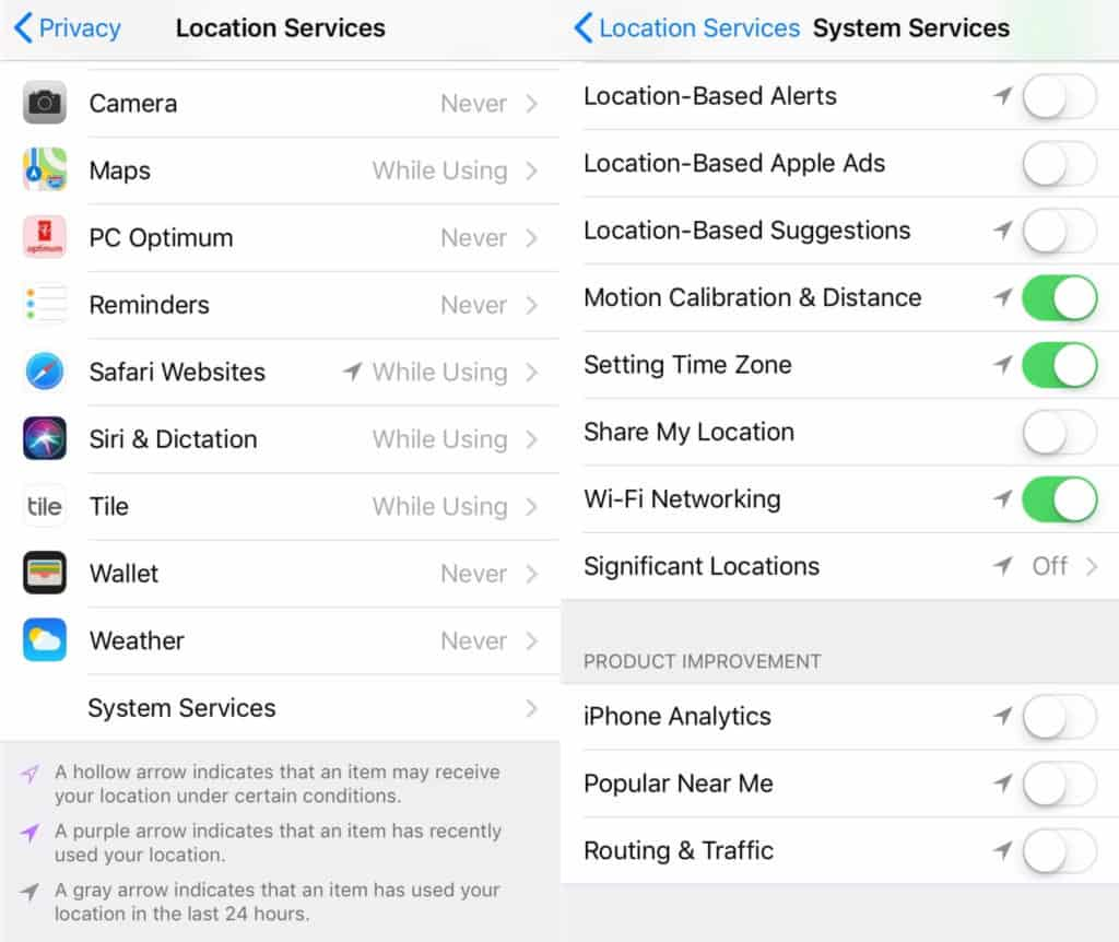 The Location Services and System Services screens.