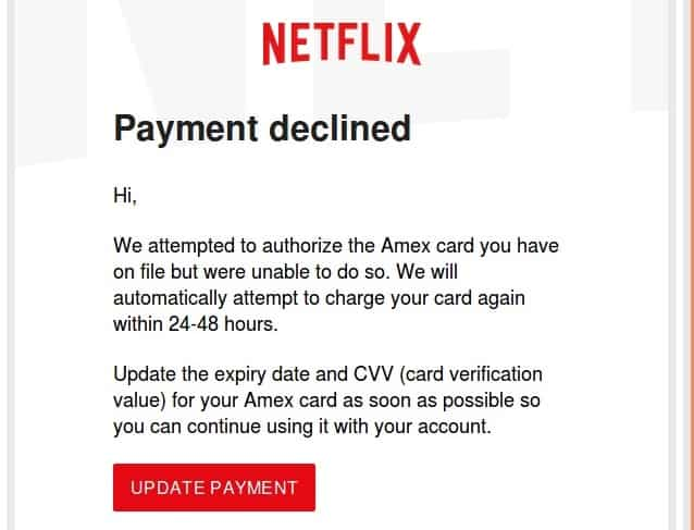 The Netflix email.