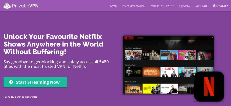 PrivateVPN Netflix page.